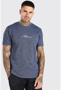 Navy MAN Signature Embroidered Marl T-Shirt