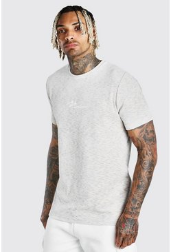 Ecru MAN Signature Embroidered Velour T-Shirt