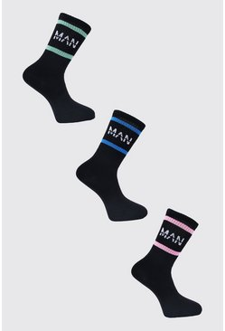 Black 3 Pack MAN Dash Pastel Stripe Socks