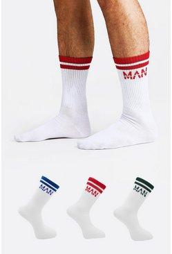 White 3 Pack MAN Dash Quarter Socks