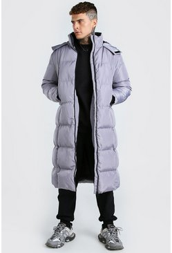 Grey Longline Duvet Puffer With Zips