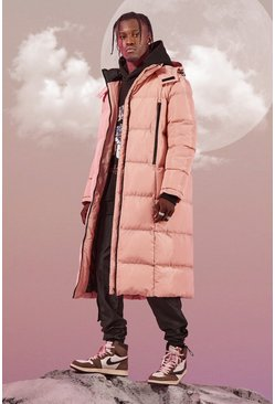 Pink Longline Duvet Puffer With Zips
