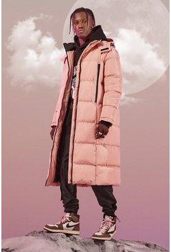 Pink Longline Duvet Puffer With Zips