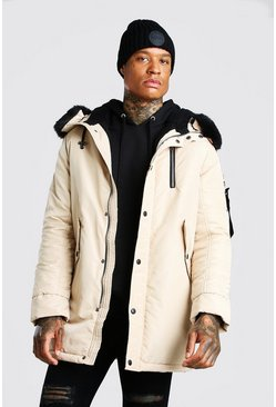 Stone MA1 Parka with Faux Fur Hood