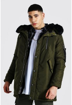 Khaki MA1 Parka with Faux Fur Hood