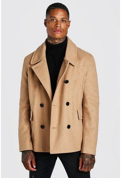 Camel Classic Wool Look Pea Coat