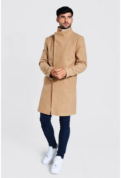Camel Funnel Neck Wool Look Overcoat