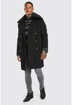 Black Faux Fur Collar Military Style Overcoat