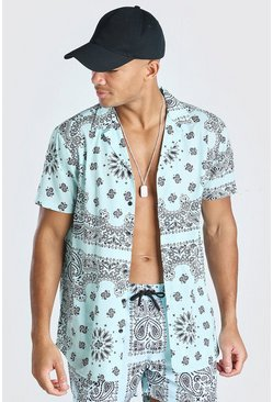 Mint Short Sleeve Bandana Print Shirt