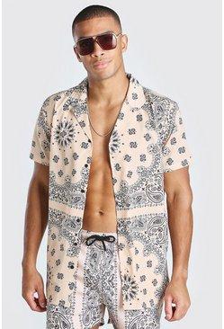 Peach Short Sleeve Bandana Print Shirt
