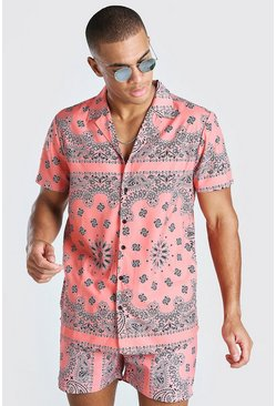 Coral Short Sleeve Bandana Print Shirt
