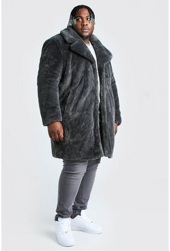 Slate Plus Size Faux Fur Overcoat