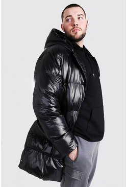 Black Plus Size Longline Matte Look Puffer