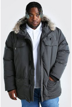 Charcoal Plus Size Faux Fur Hooded Arctic Parka