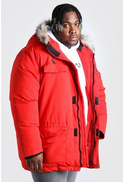 Red Plus Size Faux Fur Hooded Arctic Parka