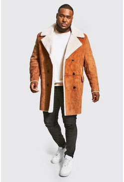 Tan Plus Size Borg Lined Double Breasted Overcoat