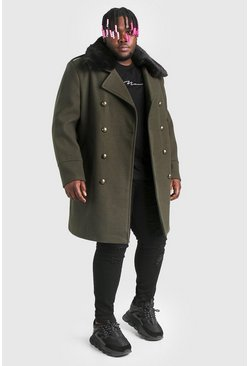 Khaki Plus Size Faux Fur Collar Coat