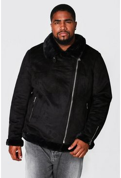 Black Plus Size Faux Fur Lined Suede Aviator
