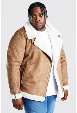 Tan Plus Size Faux Fur Lined Suede Aviator