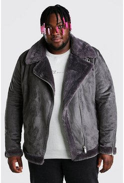 Big & Tall Aviator aus Wildleder mit Kunstpelzfutter, Anthrazit
