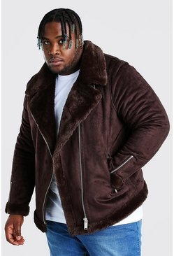 Chocolate Plus Size Faux Fur Lined Suede Aviator