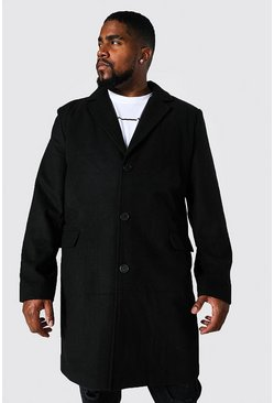 Black Plus Size Single Breasted Overcoat