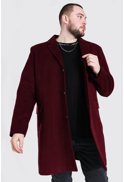 Oxblood Plus Size Single Breasted Overcoat