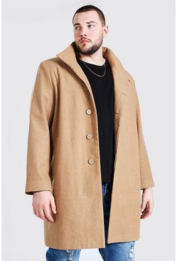 Camel Plus Size Funnel Neck Overcoat