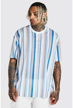 Blue Oversized Vertical Stripe T-Shirt