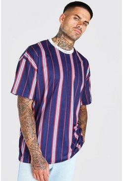 Navy Oversized MAN Signature Vertical Stripe T-Shirt