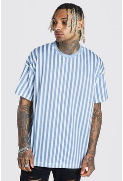 White Oversized MAN Signature Vertical Stripe T-Shirt