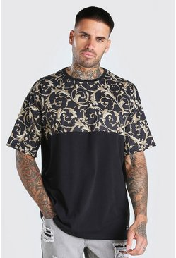 Black Oversized Baroque Panel T-Shirt With Badge