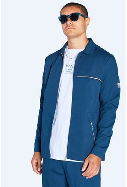 Teal Harrington Jacket With Tab Detail