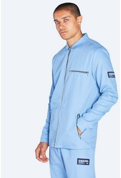 Powder blue Harrington Jacket With Tab Detail
