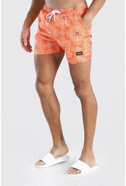 Orange MAN Official Mid Length Bandana Print Swim Short