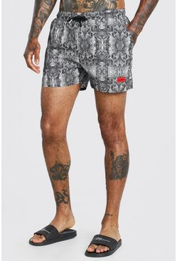 Grey MAN Official Mid Length Swim Shorts In Snake Print