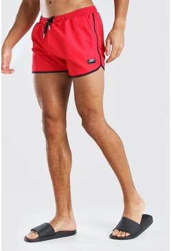 Red MAN Official Runner Style Swim Short With Tab