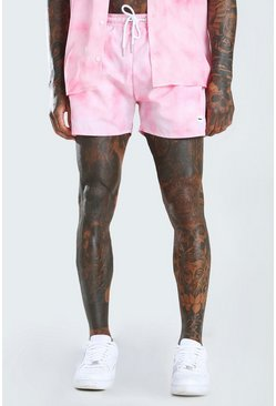 Pink MAN Official Mid Length Swim Shorts In Tie Dye