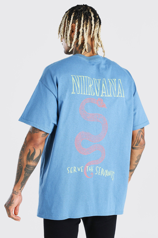 Oversized Nirvana Front & Back License T-Shirt   BoohooMAN