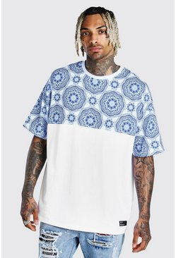 White Oversized Tile Print Panel T-Shirt With Badge
