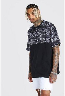 Black Oversized Paisley Panel T-Shirt