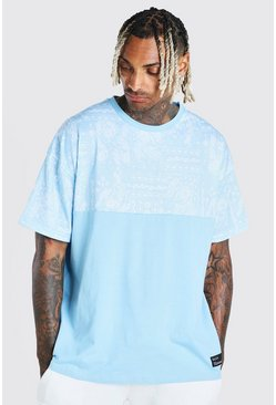 Oversized Paisley Panel T-Shirt With Badge, Blue