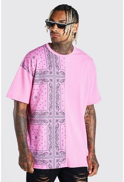 Oversized Bandana Spliced T-Shirt With Badge, Pink