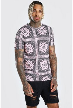 Pink Bandana Repeat Print T-Shirt