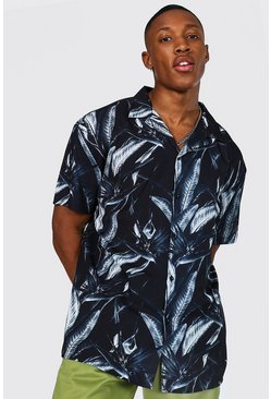 Black Short Sleeve Revere Print Oversized Shirt