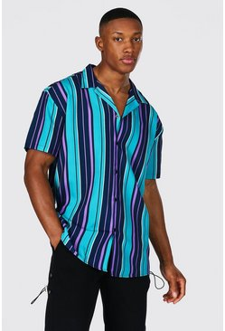 Teal Short Sleeve Revere Stripe Oversized Shirt