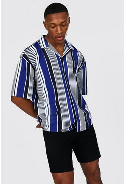 Multi Boxy Fit Short Sleeve Revere Stripe Shirt