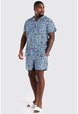 Blue Big And Tall Bandana Print Shirt And Swim Set