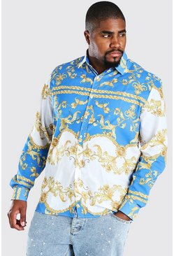 Blue Plus Size Long Sleeve Baroque Print Shirt