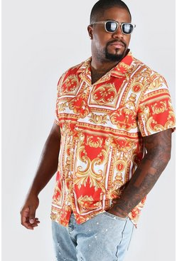 Red Big And Tall Short Sleeve Baroque Print Shirt